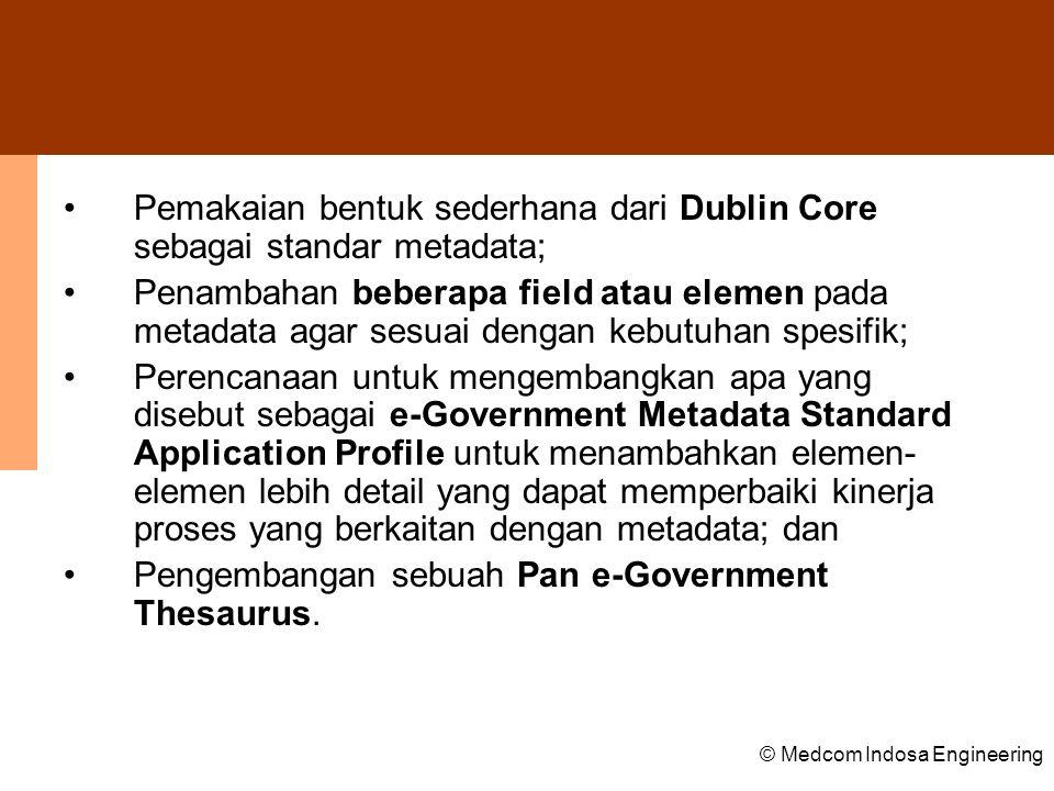 Pemakaian bentuk sederhana dari Dublin Core sebagai standar metadata;