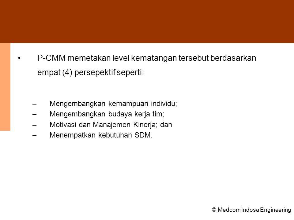P-CMM memetakan level kematangan tersebut berdasarkan empat (4) persepektif seperti: