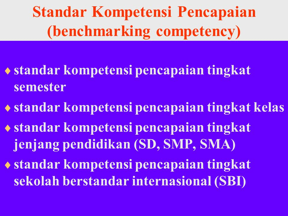 Standar Kompetensi Pencapaian (benchmarking competency)