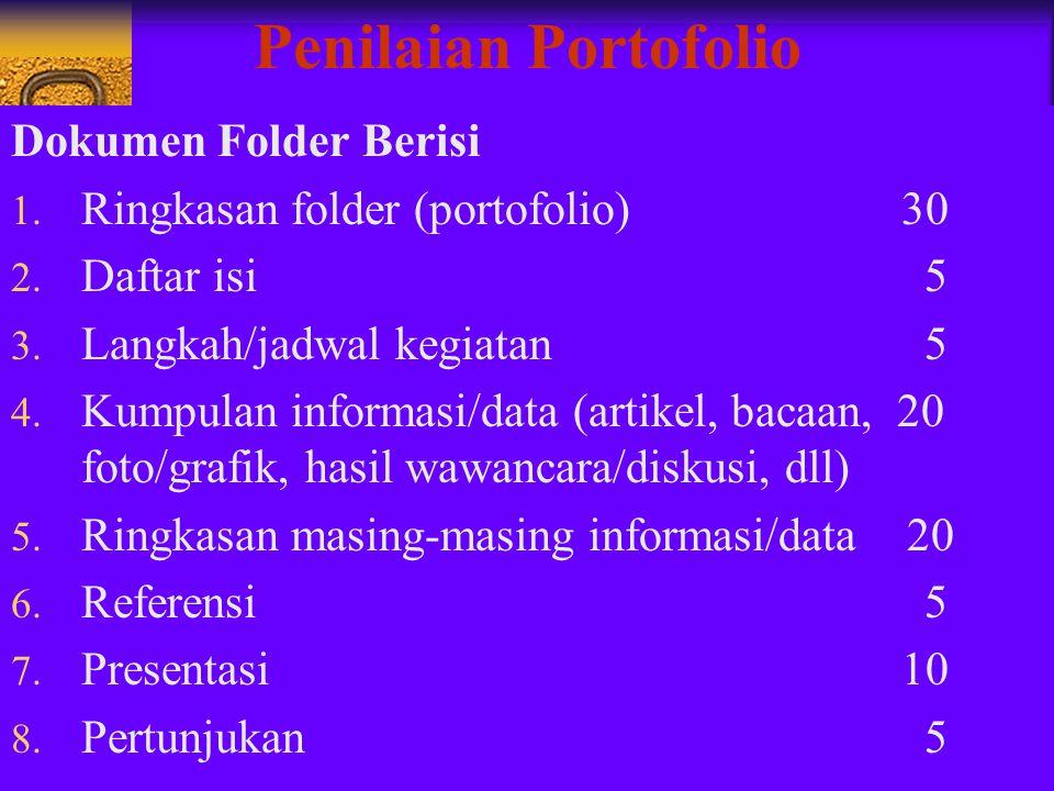 Penilaian Portofolio Dokumen Folder Berisi