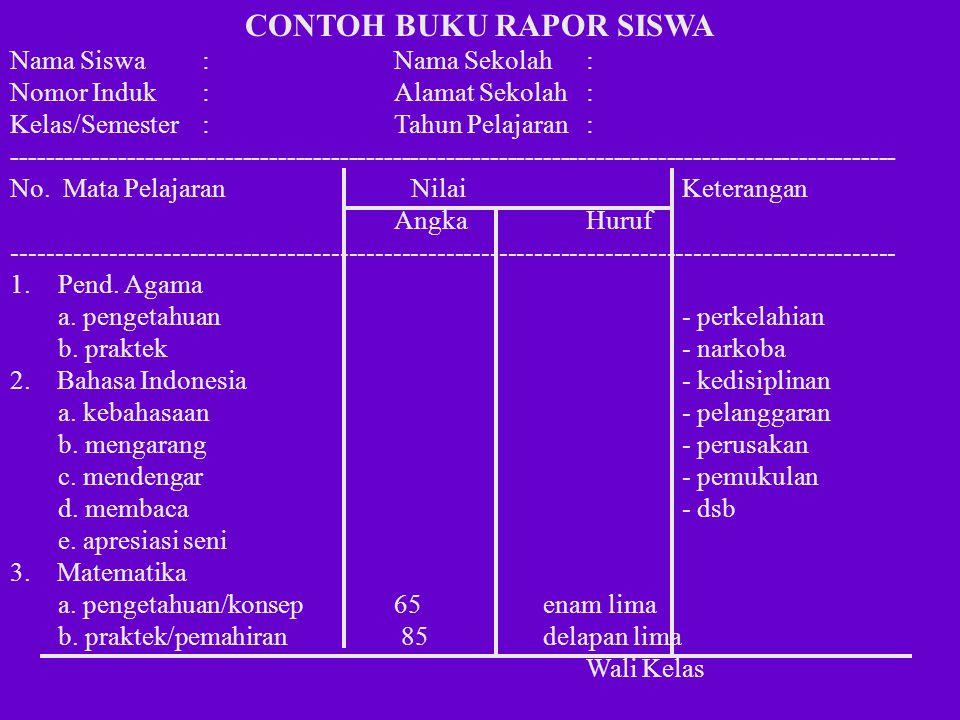 CONTOH BUKU RAPOR SISWA