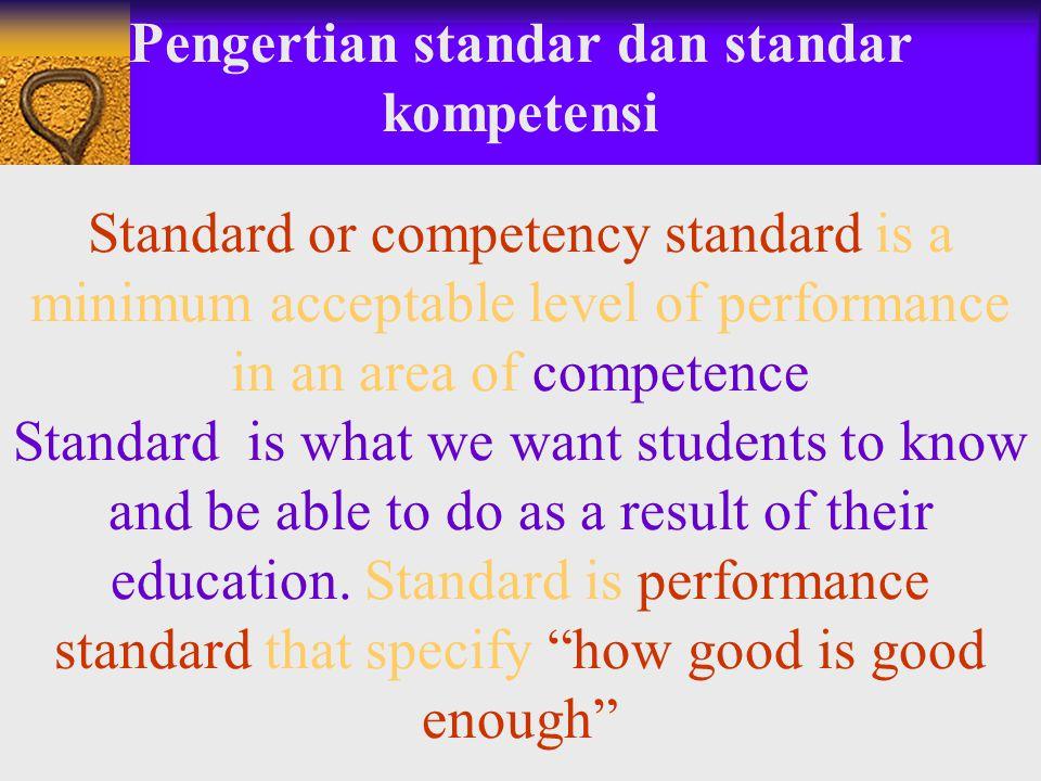 Pengertian standar dan standar kompetensi