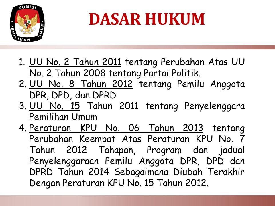 DASAR HUKUM UU No. 2 Tahun 2011 tentang Perubahan Atas UU No. 2 Tahun 2008 tentang Partai Politik.