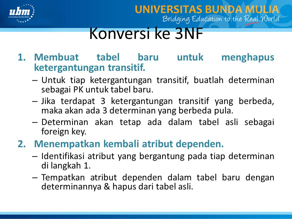 Konversi ke 3NF Membuat tabel baru untuk menghapus ketergantungan transitif.