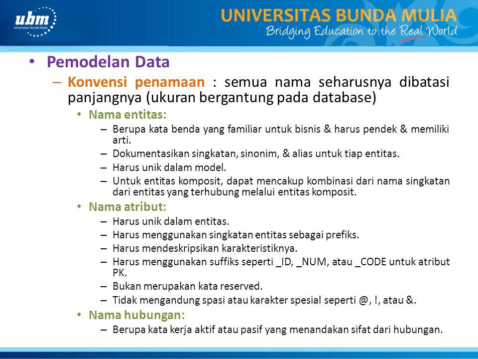 Pemodelan Data Konvensi penamaan : semua nama seharusnya dibatasi panjangnya (ukuran bergantung pada database)