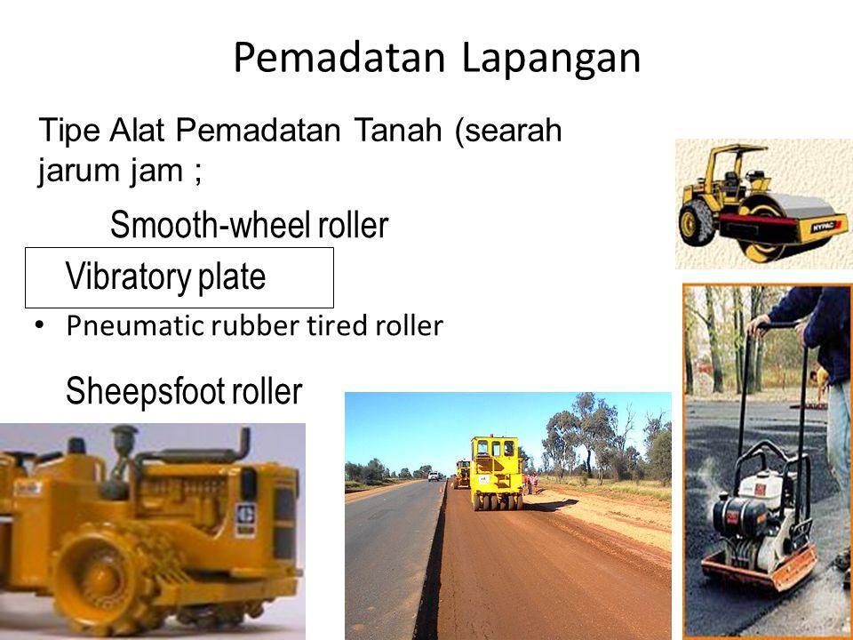 Pemadatan Lapangan Smooth-wheel roller Vibratory plate