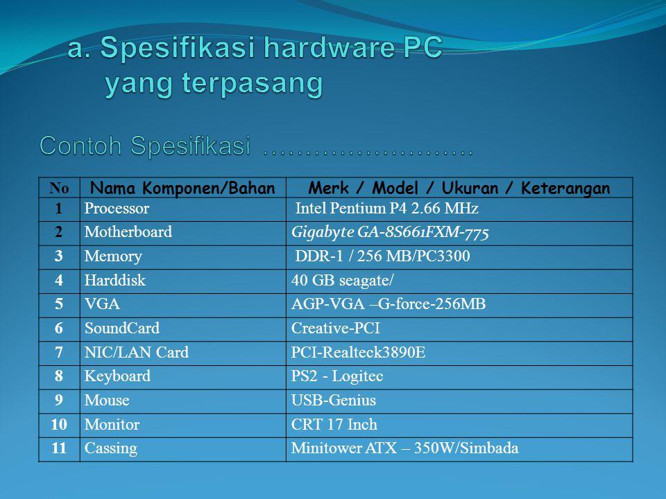 a. Spesifikasi hardware PC yang terpasang
