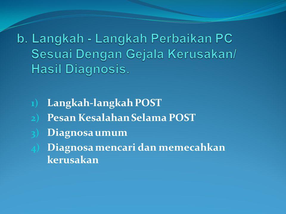 b. Langkah - Langkah Perbaikan PC Sesuai Dengan Gejala Kerusakan/ Hasil Diagnosis.