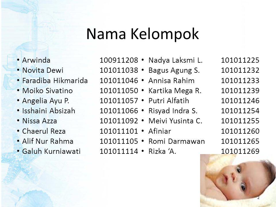 Nama Kelompok Arwinda 100911208 Nadya Laksmi L. 101011225