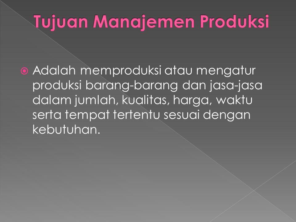 Tujuan Manajemen Produksi