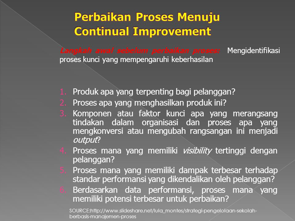 Perbaikan Proses Menuju Continual Improvement