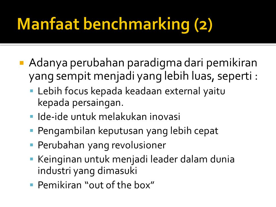 Manfaat benchmarking (2)