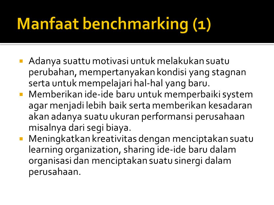 Manfaat benchmarking (1)