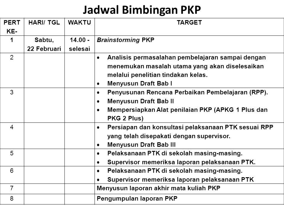 Jadwal Bimbingan PKP PERT KE- HARI/ TGL WAKTU TARGET 1 Sabtu,