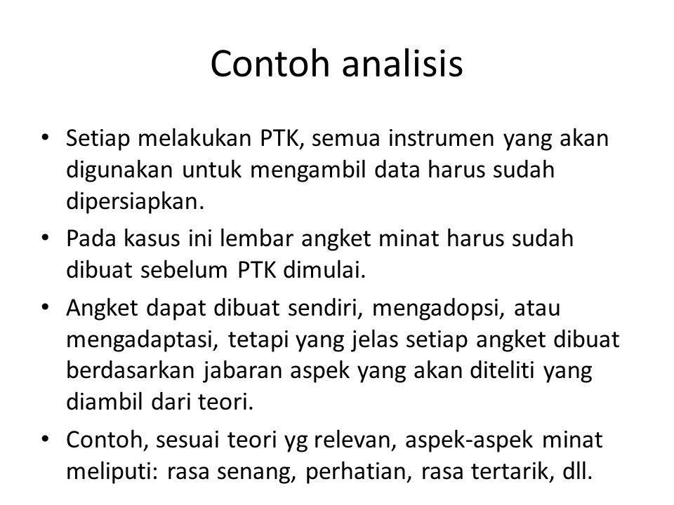 Contoh analisis Setiap melakukan PTK, semua instrumen yang akan digunakan untuk mengambil data harus sudah dipersiapkan.