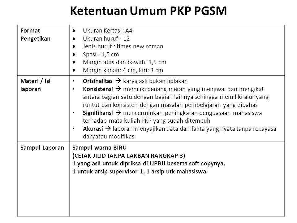 Ketentuan Umum PKP PGSM