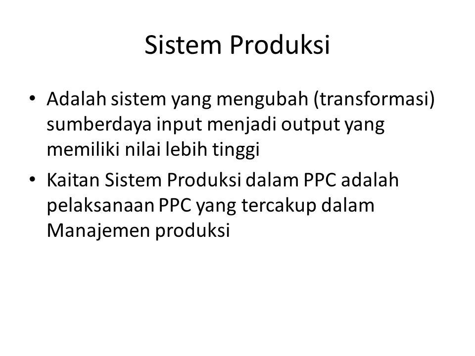 Sistem Produksi Adalah sistem yang mengubah (transformasi) sumberdaya input menjadi output yang memiliki nilai lebih tinggi.