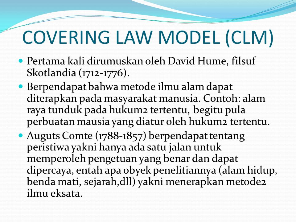 COVERING LAW MODEL (CLM)