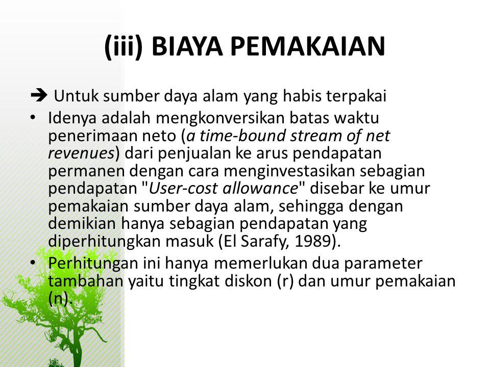 (iii) BIAYA PEMAKAIAN  Untuk sumber daya alam yang habis terpakai
