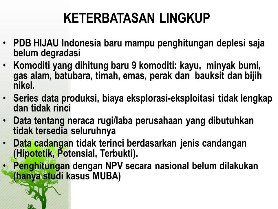 KETERBATASAN LINGKUP PDB HIJAU Indonesia baru mampu penghitungan deplesi saja belum degradasi.