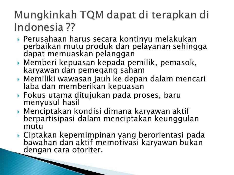 Mungkinkah TQM dapat di terapkan di Indonesia