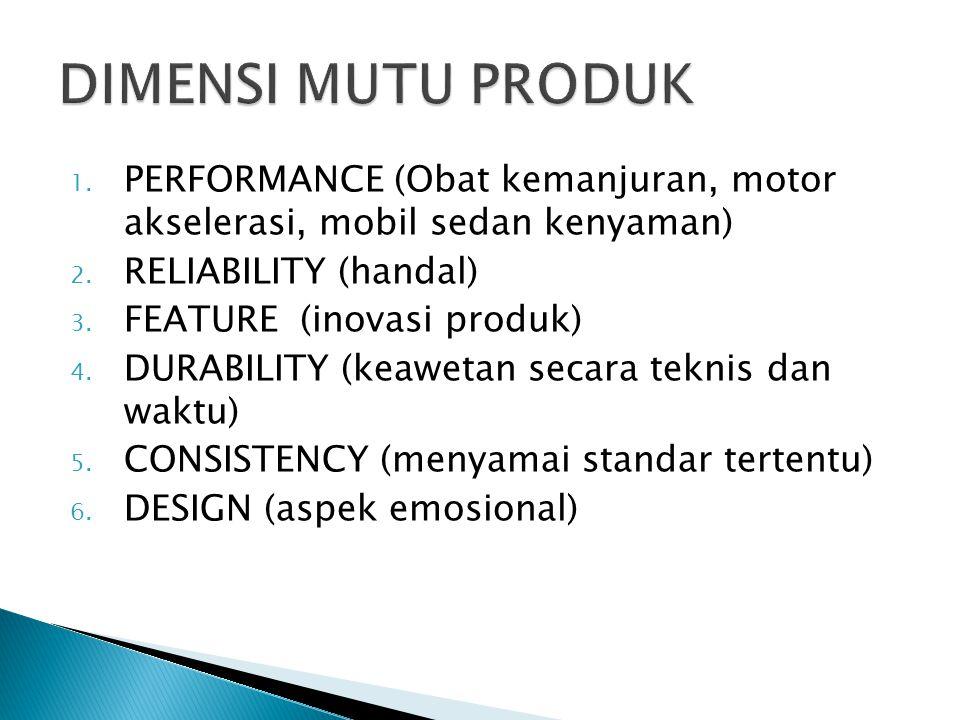 DIMENSI MUTU PRODUK PERFORMANCE (Obat kemanjuran, motor akselerasi, mobil sedan kenyaman) RELIABILITY (handal)