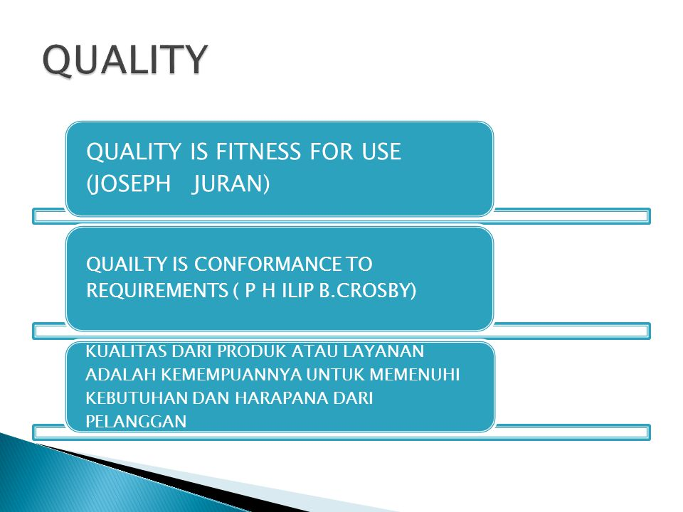 QUALITY QUALITY IS FITNESS FOR USE (JOSEPH JURAN)