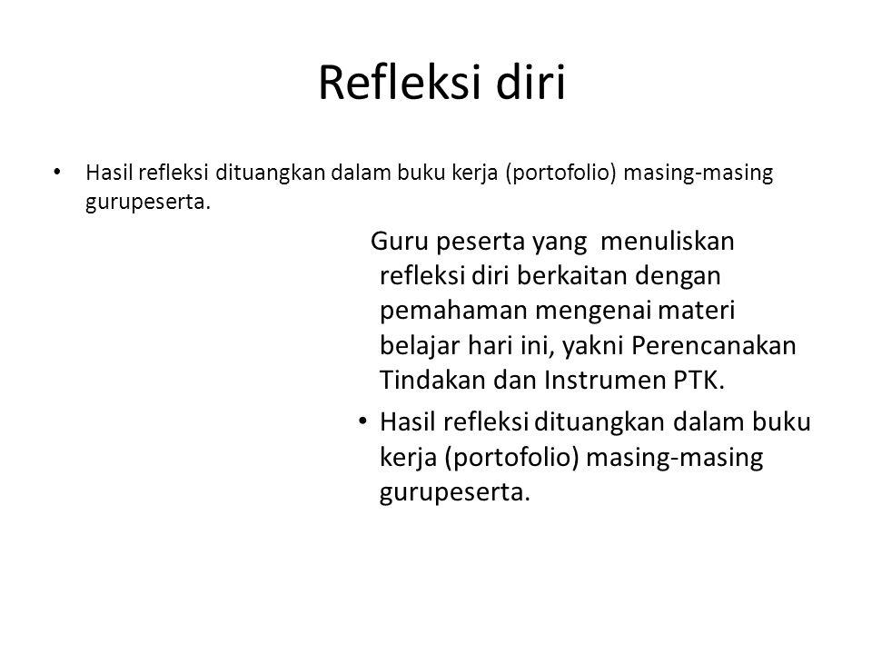 Refleksi diri Hasil refleksi dituangkan dalam buku kerja (portofolio) masing-masing gurupeserta.