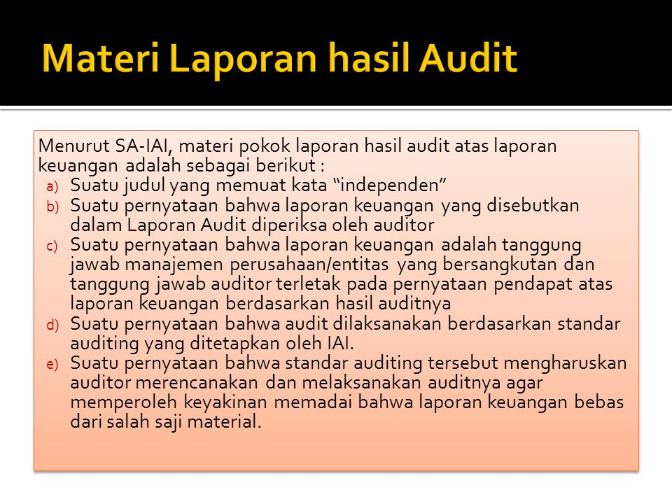 Materi Laporan hasil Audit