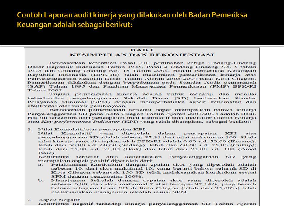 Contoh Laporan audit kinerja yang dilakukan oleh Badan Pemeriksa Keuangan adalah sebagai berikut: