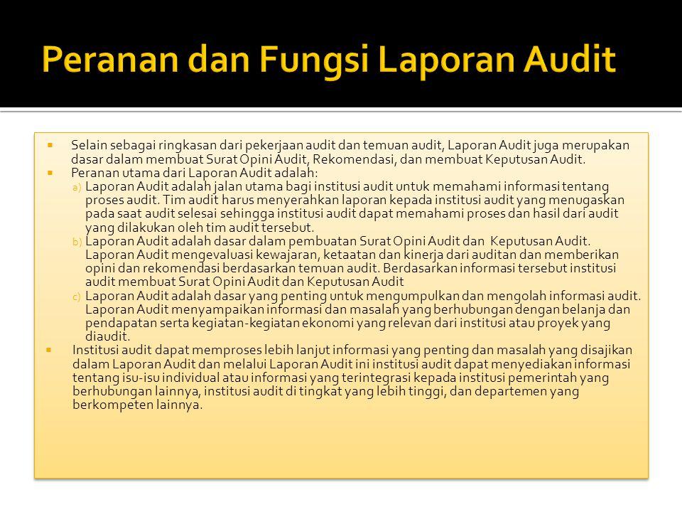 Peranan dan Fungsi Laporan Audit