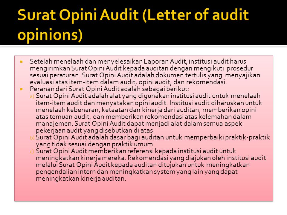 Surat Opini Audit (Letter of audit opinions)