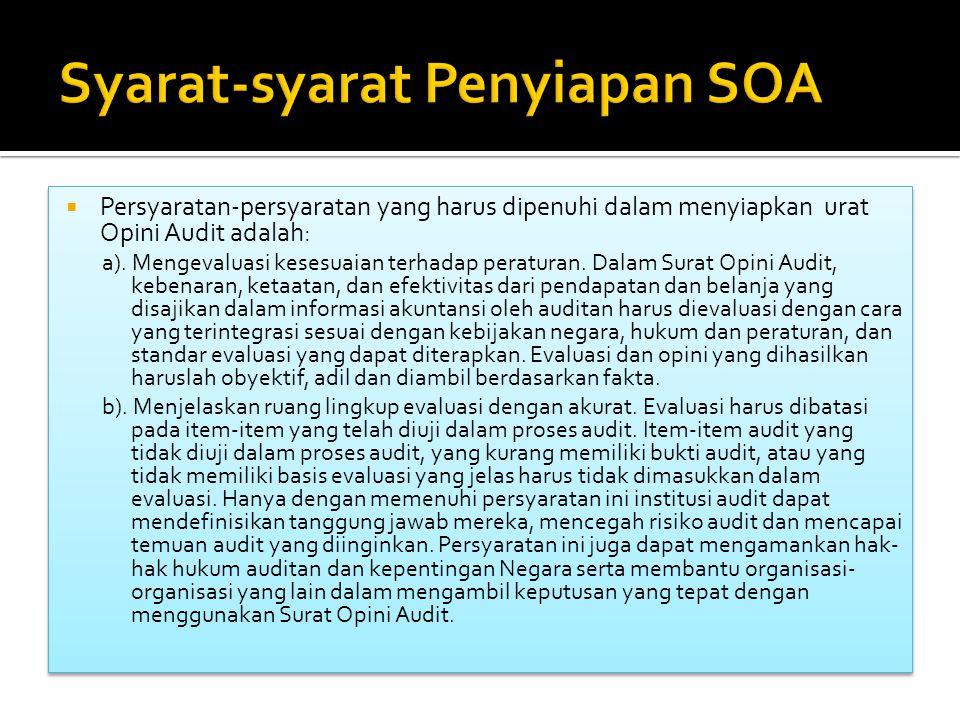Syarat-syarat Penyiapan SOA
