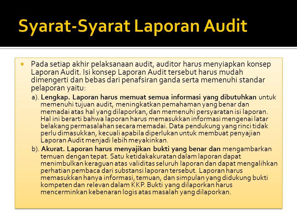 Syarat-Syarat Laporan Audit