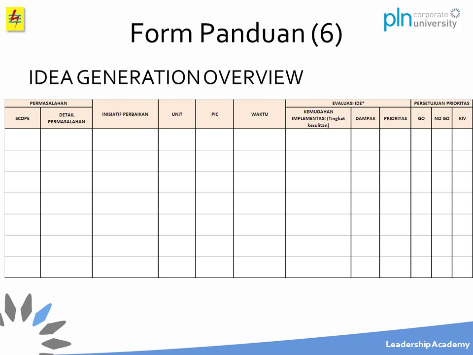 Form Panduan (6) IDEA GENERATION OVERVIEW