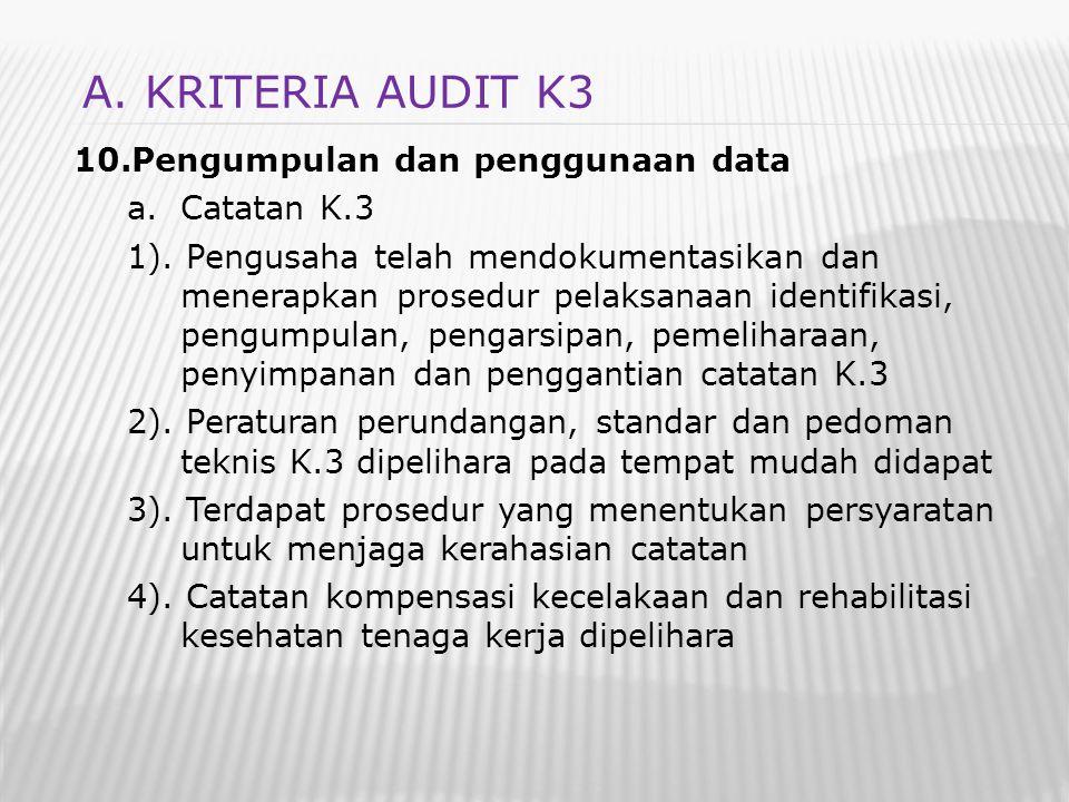 A. KRITERIA AUDIT K3 Pengumpulan dan penggunaan data Catatan K.3