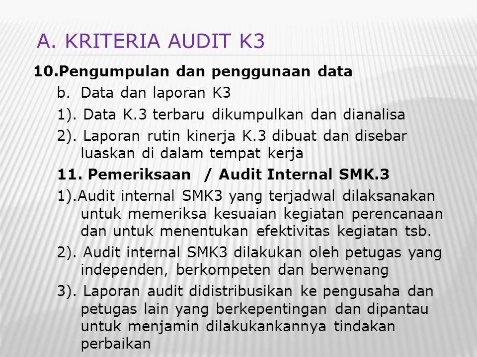 A. KRITERIA AUDIT K3 Pengumpulan dan penggunaan data