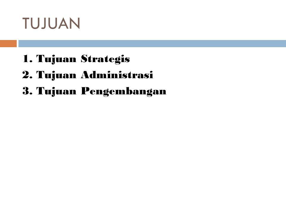 TUJUAN 1. Tujuan Strategis 2. Tujuan Administrasi