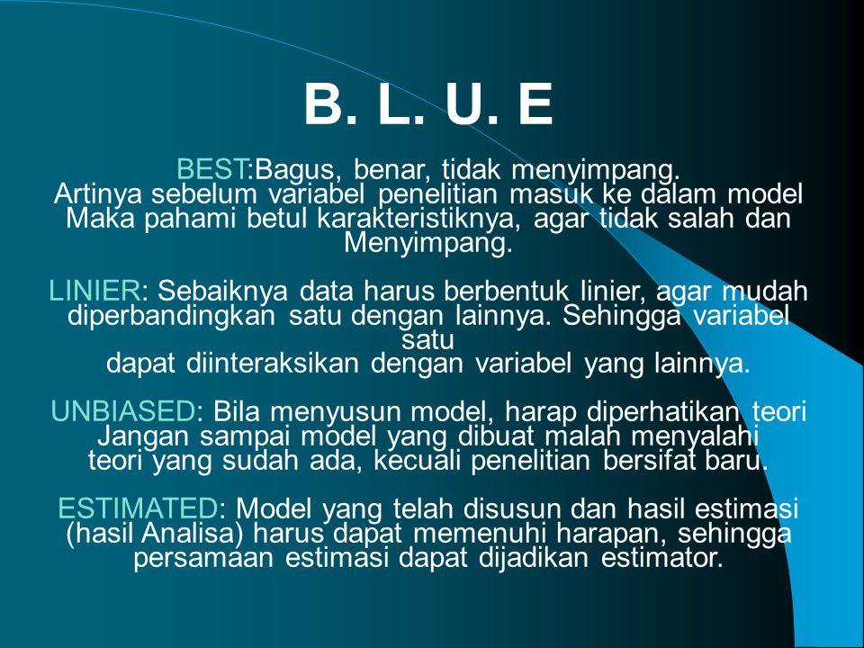 B. L. U. E BEST:Bagus, benar, tidak menyimpang.