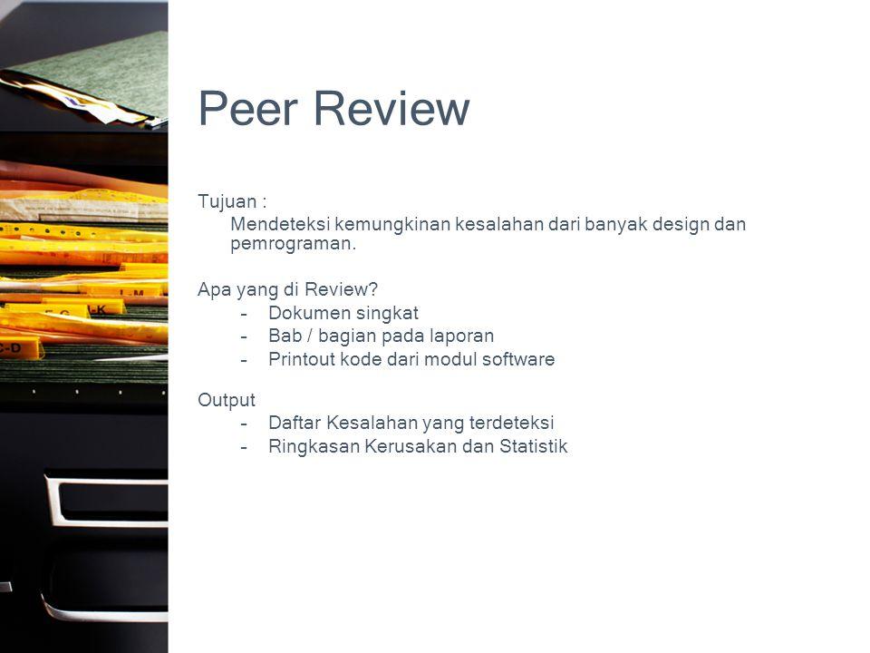 Peer Review Tujuan : Mendeteksi kemungkinan kesalahan dari banyak design dan pemrograman. Apa yang di Review