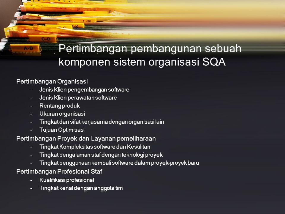 Pertimbangan pembangunan sebuah komponen sistem organisasi SQA
