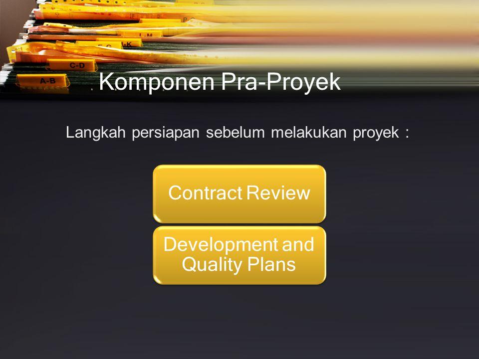 Komponen Pra-Proyek Langkah persiapan sebelum melakukan proyek :