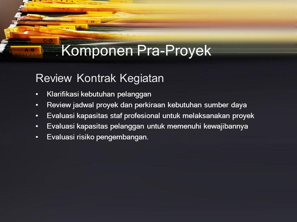 Komponen Pra-Proyek Review Kontrak Kegiatan