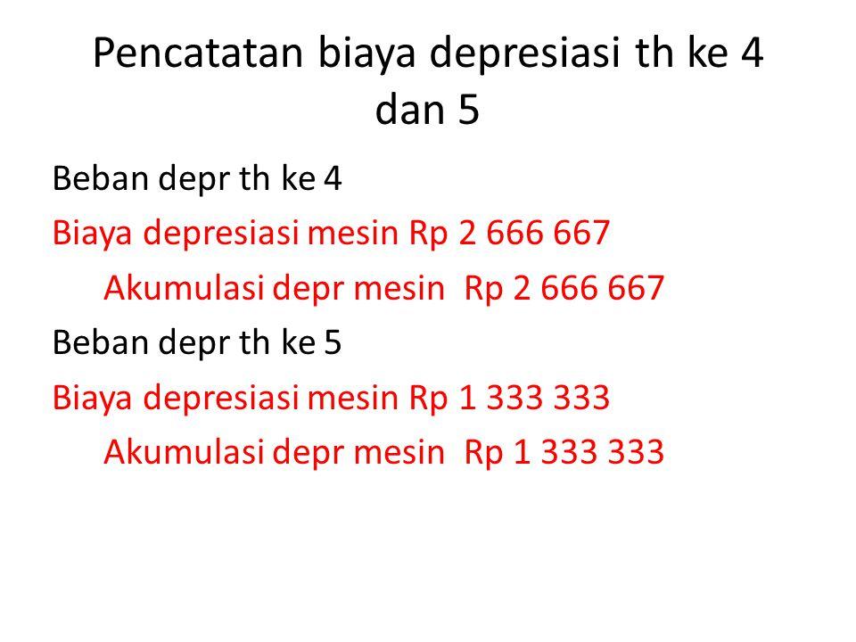 Pencatatan biaya depresiasi th ke 4 dan 5