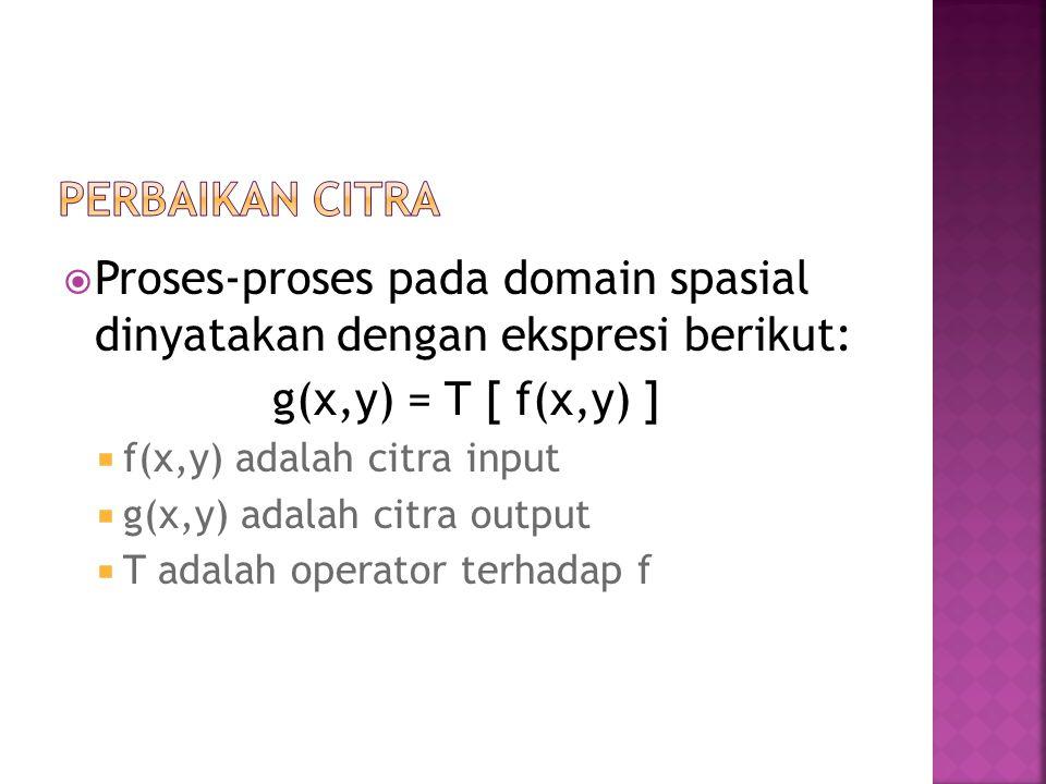 Proses-proses pada domain spasial dinyatakan dengan ekspresi berikut: