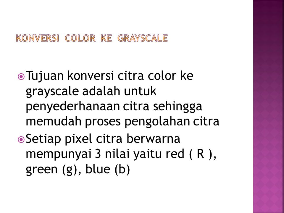 Konversi color ke grayscale