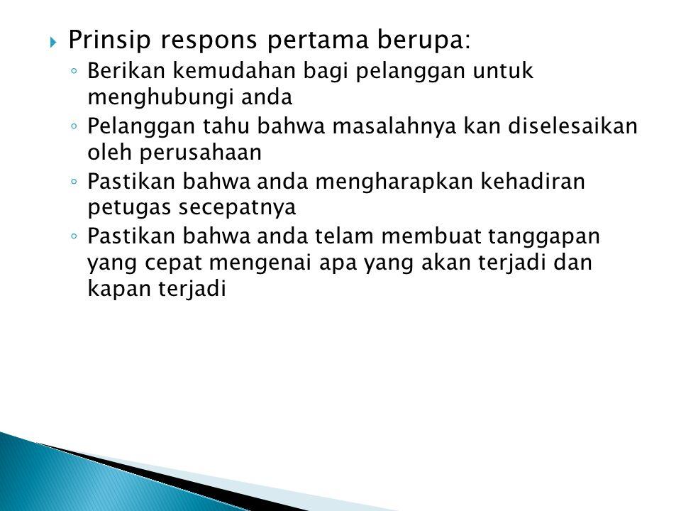 Prinsip respons pertama berupa: