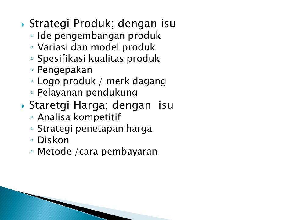 Strategi Produk; dengan isu