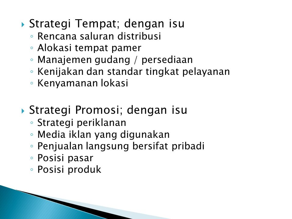 Strategi Tempat; dengan isu