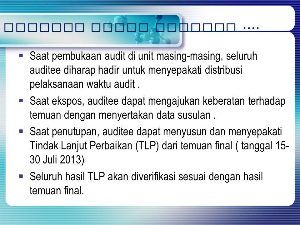 Catatan untuk Auditee ....
